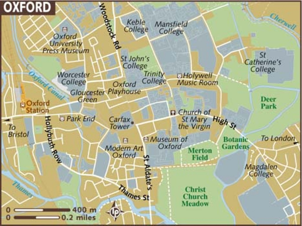 Oxford Maps - Top Tourist Attractions - Free, Printable City Street Map - Printable Travel Map