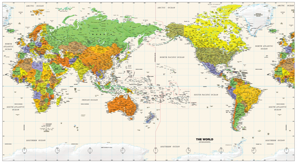 Pacific Centered World Wall Map - Maps - Printable World Map Pacific Centered