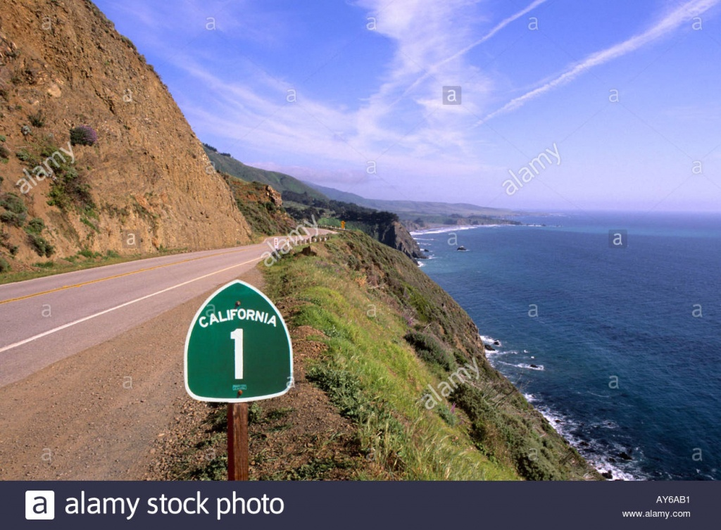 Pacific Coast Highway California Route 1 Scenic Near Big Sur Stock - California Highway 1 Scenic Drive Map