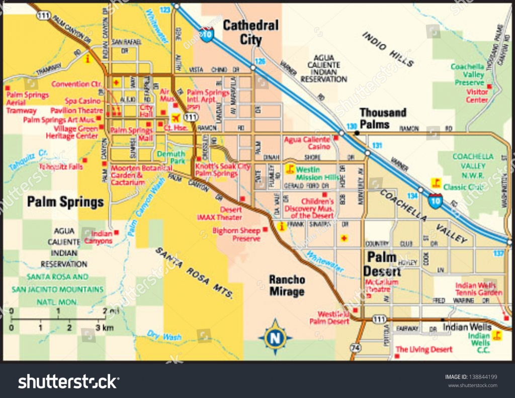 Palm Springs California Area Map Stock Vector (Royalty Free) 138844199 - Palm Springs California Map