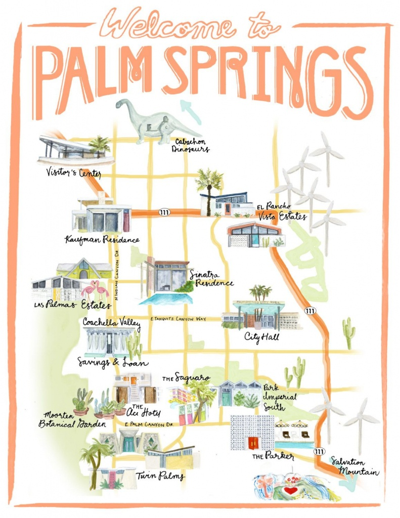 Palm Springs California Illustrated Travel Map Print Of Watercolor - Palm Springs California Map