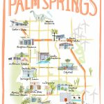 Palm Springs California Illustrated Travel Map Print Of Watercolor   Where Is Palm Desert California Map