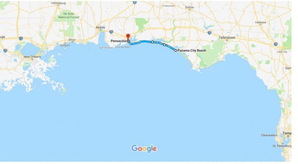 Panama City Beach, Fl To Pensacola, Fl – Google Maps   Urban Bicycle - Where Is Pensacola Florida On A Map