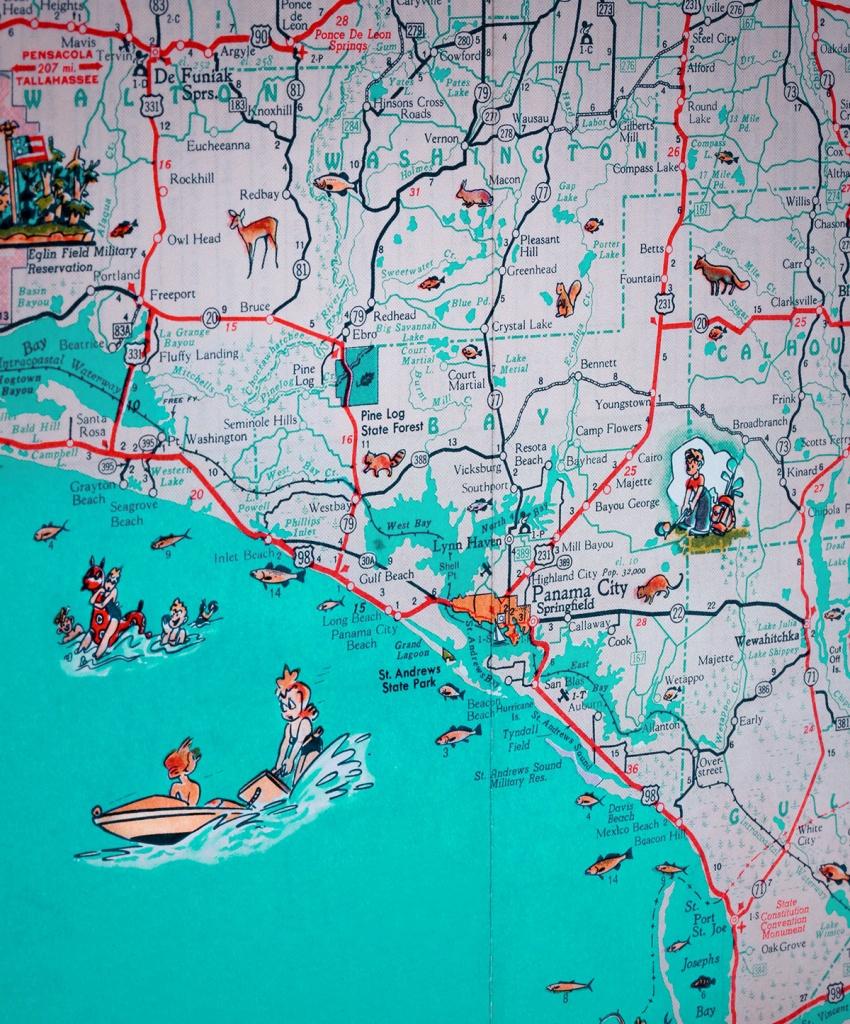 Panama City St Joe Florida Panhandle Beach Retro Map Print Funky Vintage  Turquoise Photo Seagrove Beach - Map Of Florida Panhandle Beaches