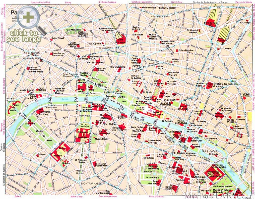 Paris Maps - Top Tourist Attractions - Free, Printable - Mapaplan - Printable Map Of Paris