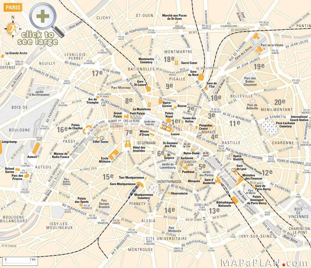 Paris Maps - Top Tourist Attractions - Free, Printable - Mapaplan - Printable Tourist Map Of Paris France