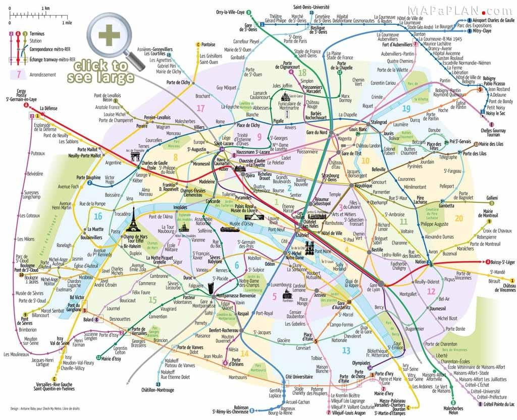 Paris Maps - Top Tourist Attractions - Free, Printable - Mapaplan - Street Map Of Paris France Printable