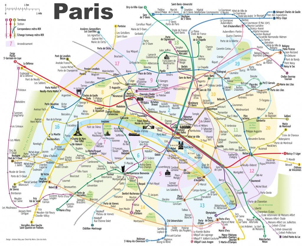Paris Metro Map With Main Tourist Attractions - Printable Paris Metro Map