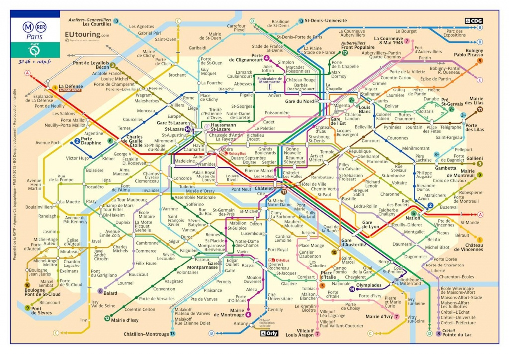 Paris Metro Maps Plus 16 Metro Lines With Stations - Update 2019 - Printable Paris Metro Map