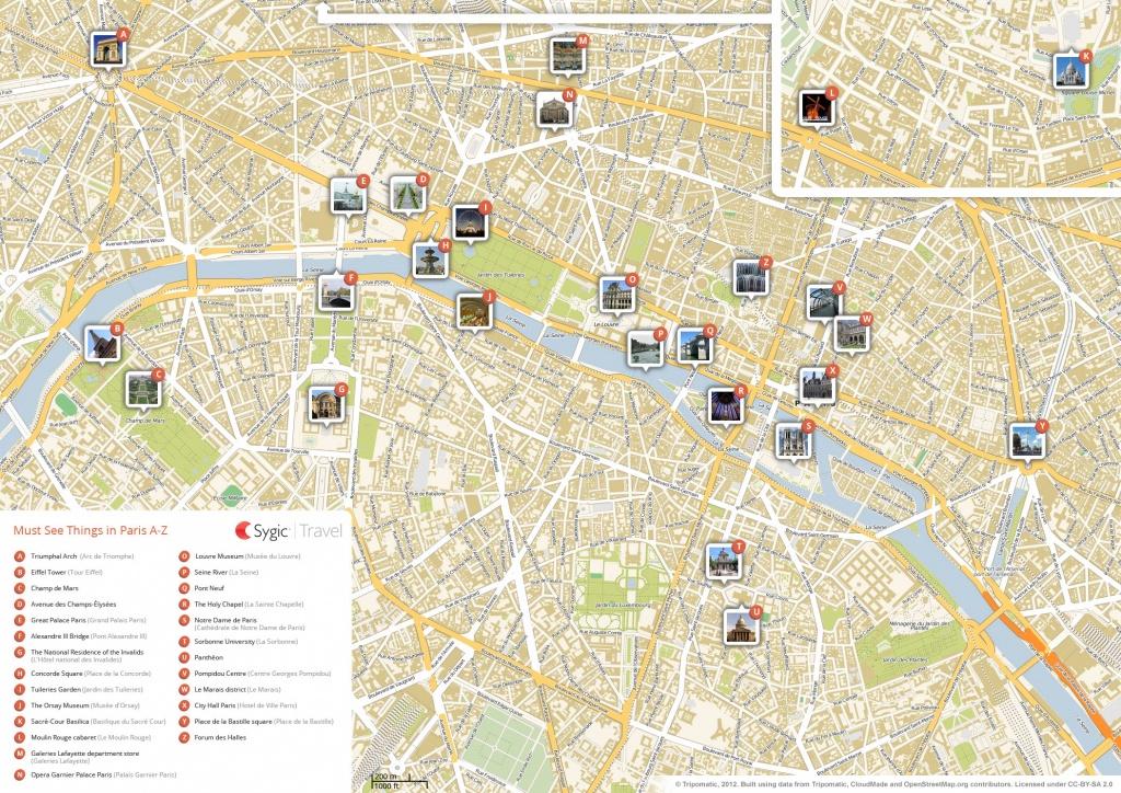 Paris Printable Tourist Map | Sygic Travel - Street Map Of Paris France Printable