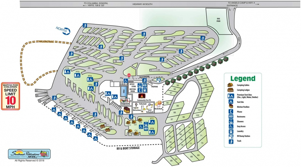 Park Info - Angels Camp Rv Resort - Rv Parks California Map