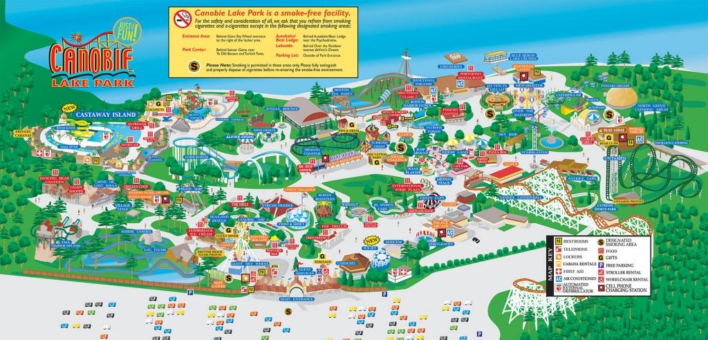 Park Map | Canobie Lake Park - Six Flags New England Map Printable