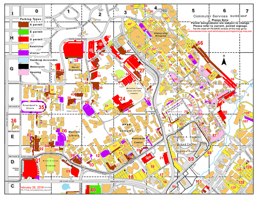 Parking Map - Commuter Services - The University Of Utah - Uf Campus Map Printable