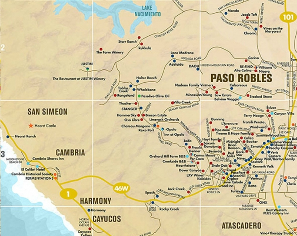 Paso Robles Area Wine Tasting Map | Future Travels | Paso Robles - Where Is Paso Robles California On The Map