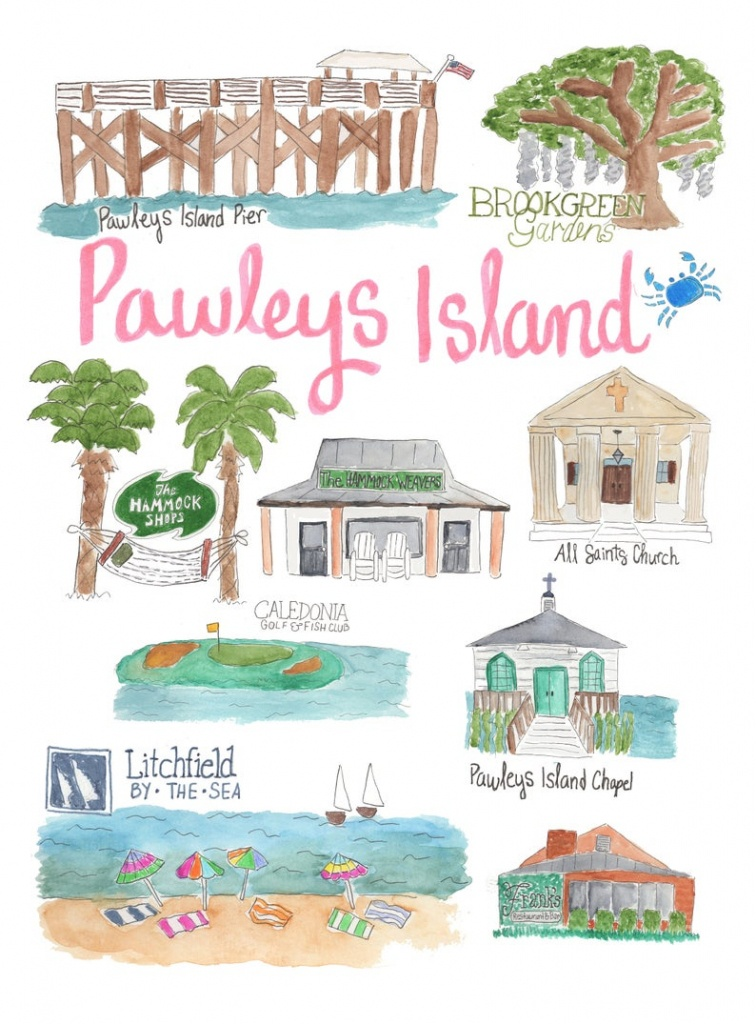 Pawleys Island Sc Map Landmark Print Illustrated Watercolor   Etsy - Brookgreen Gardens Printable Map