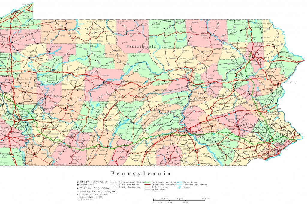 Pennsylvania Printable Map - Printable Map Of Pennsylvania