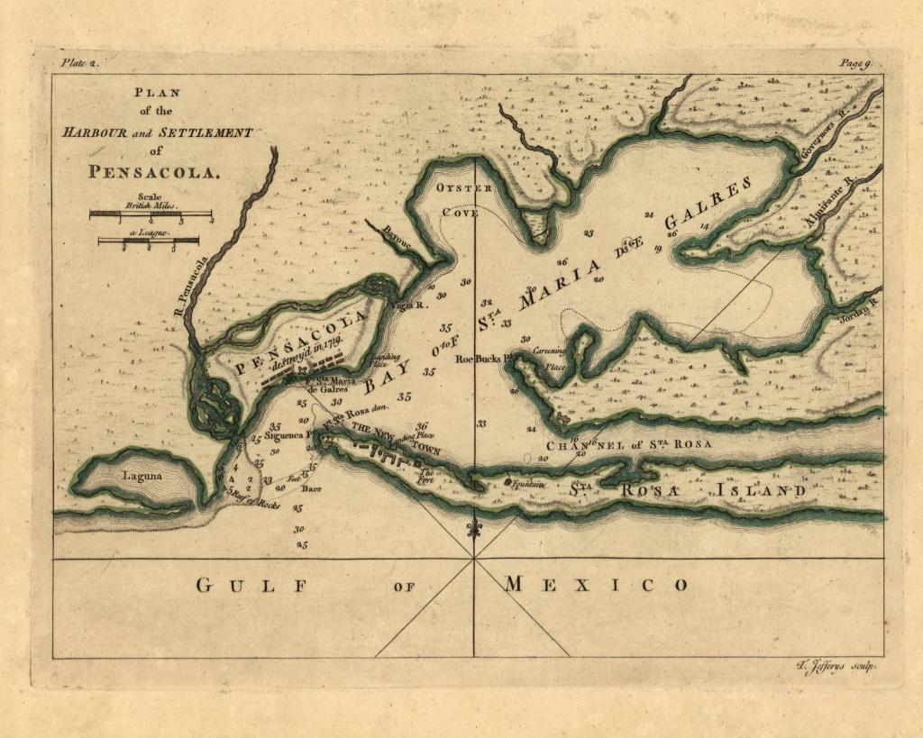 Pensacola Bay 1768 Florida - Old Map Reprint Usa 1768 Atlas 42B - Florida Old Map