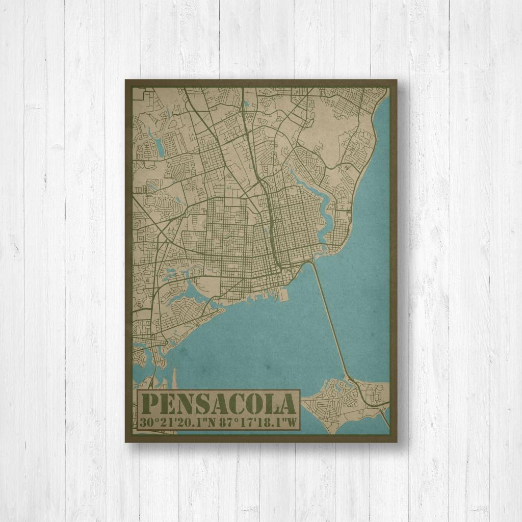 Pensacola Florida City Street Map Print Pensacola City Map   Etsy - Printable Map Of Pensacola Florida
