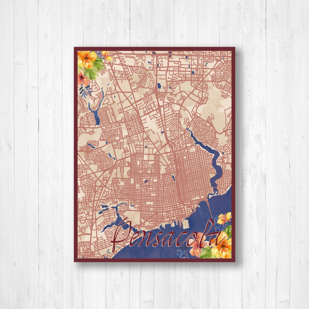 Pensacola, Florida, Watercolor Map, Watercolor Flowers, Street Map - Printable Map Of Pensacola Florida