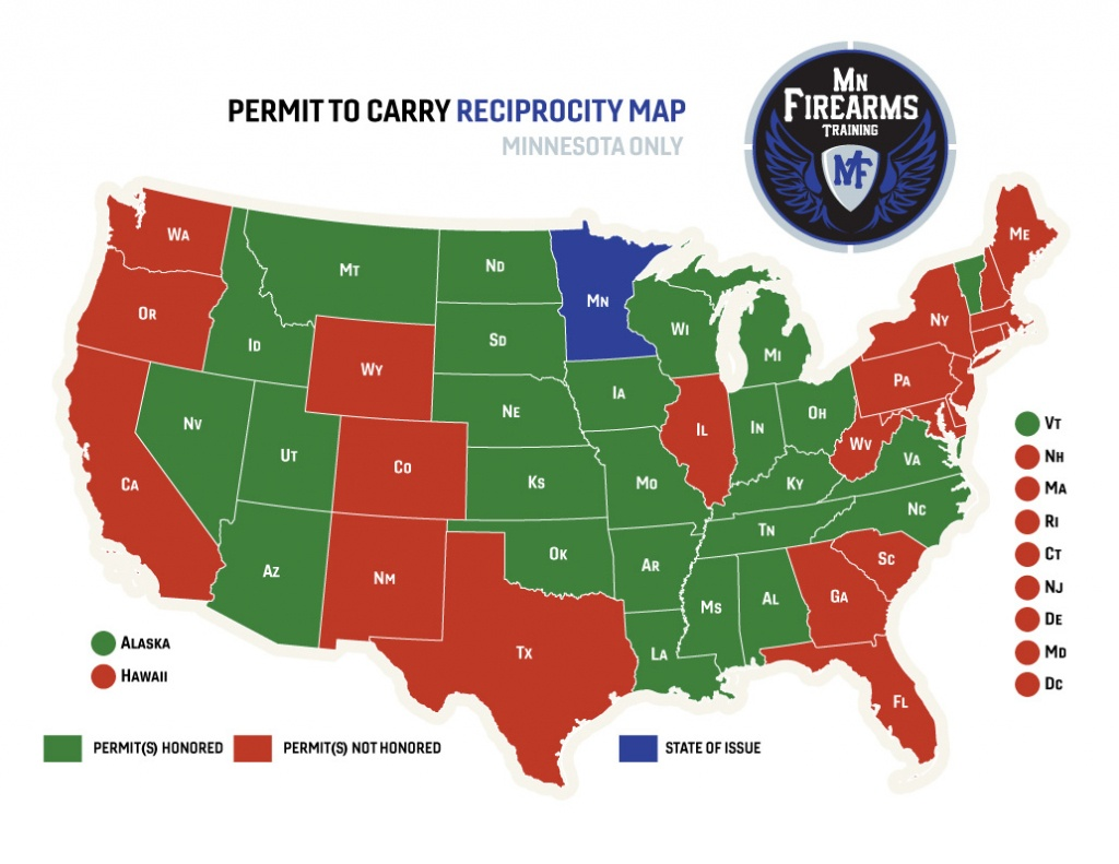 Permit To Carry Maps | Mn Firearms Training - Texas Concealed Carry States Map