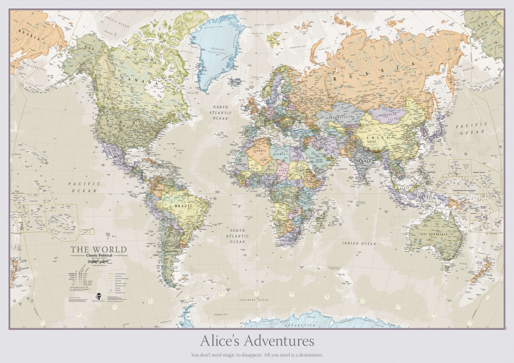 Personalised Classic World Map - Printable Map With Pins