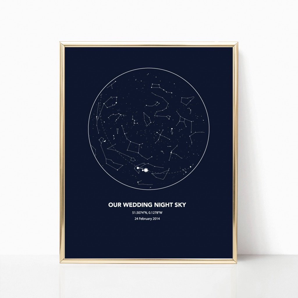 Personalised Star Map, Custom Wedding Anniversary Sky Map, Custom - Printable Sky Map