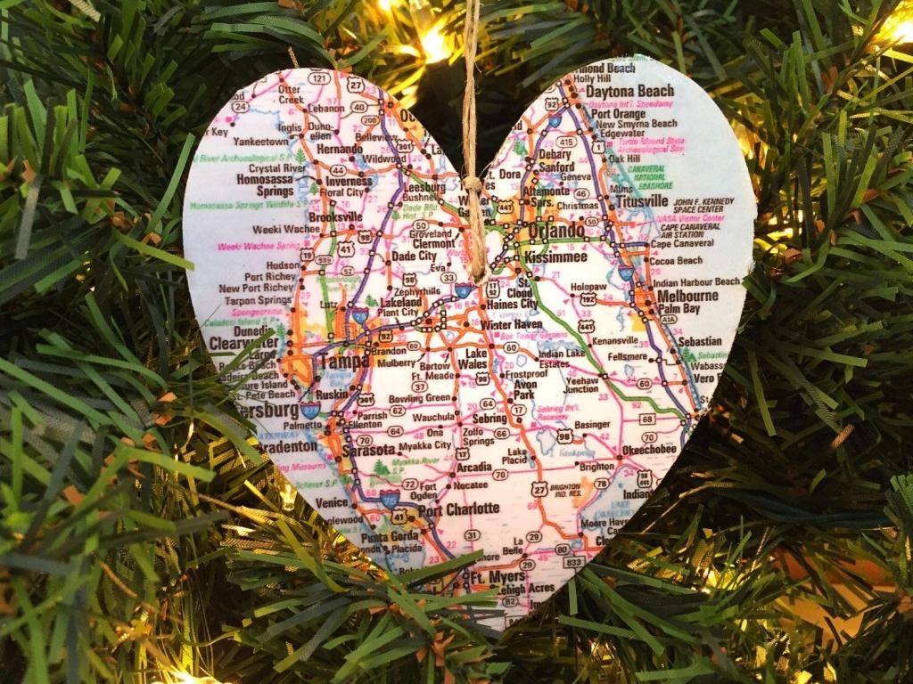 Personalized Florida Map Ornament | Jolly Holiday | Orlando Map - Christmas Florida Map