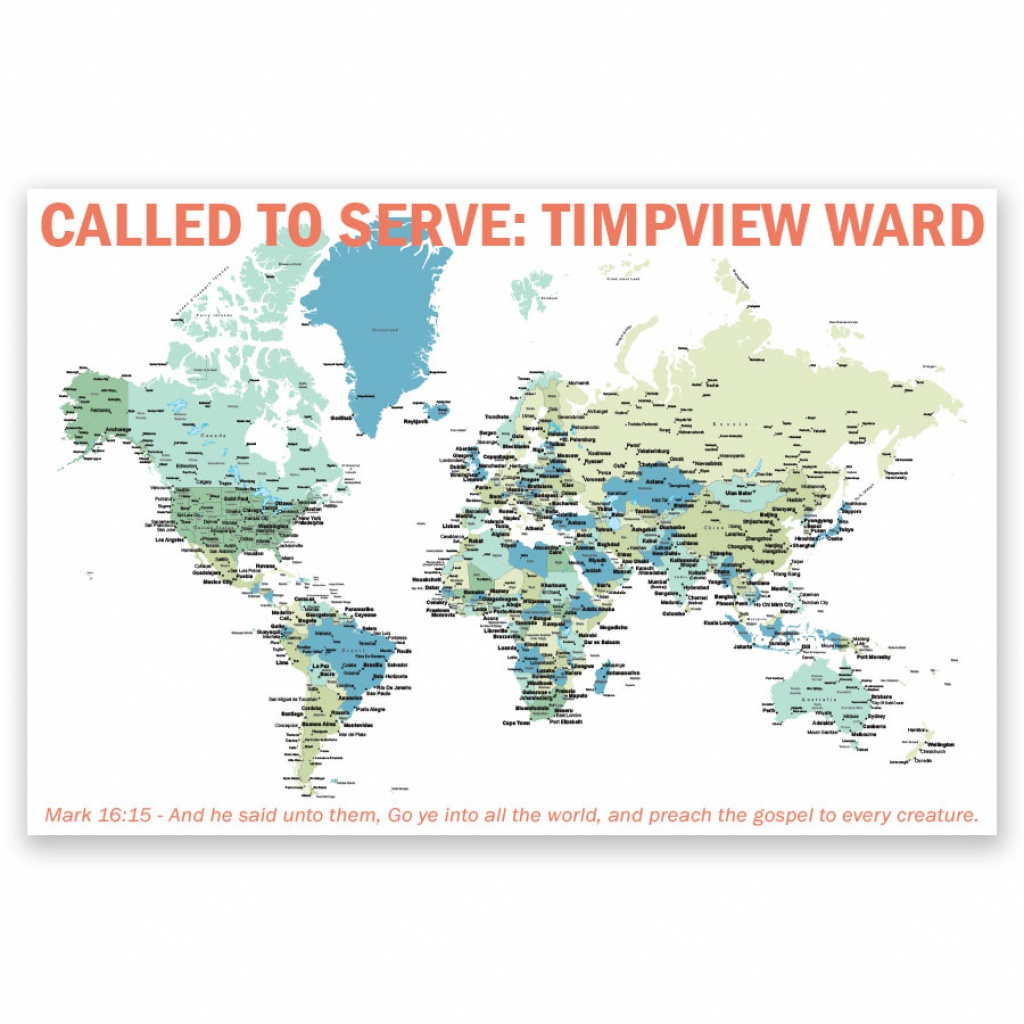 Personalized Lds World Mission Map Poster In Mission Map Posters - California Lds Missions Map