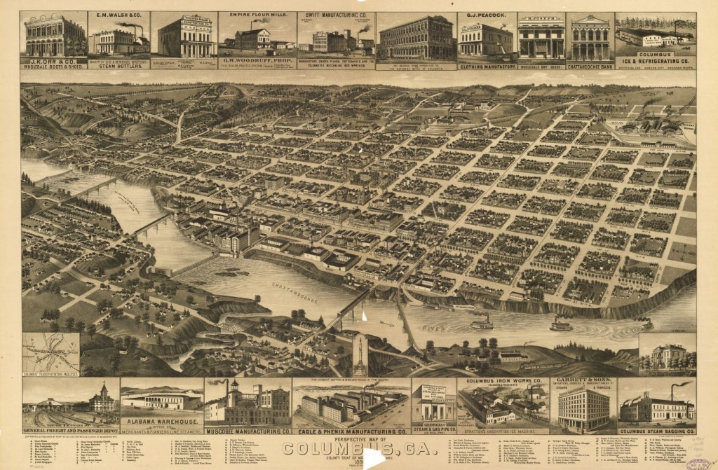 Perspective Map Of Columbus, Ga., County Seat [Of Muscogee Cou]Nty - Printable Map Of Columbus Ga