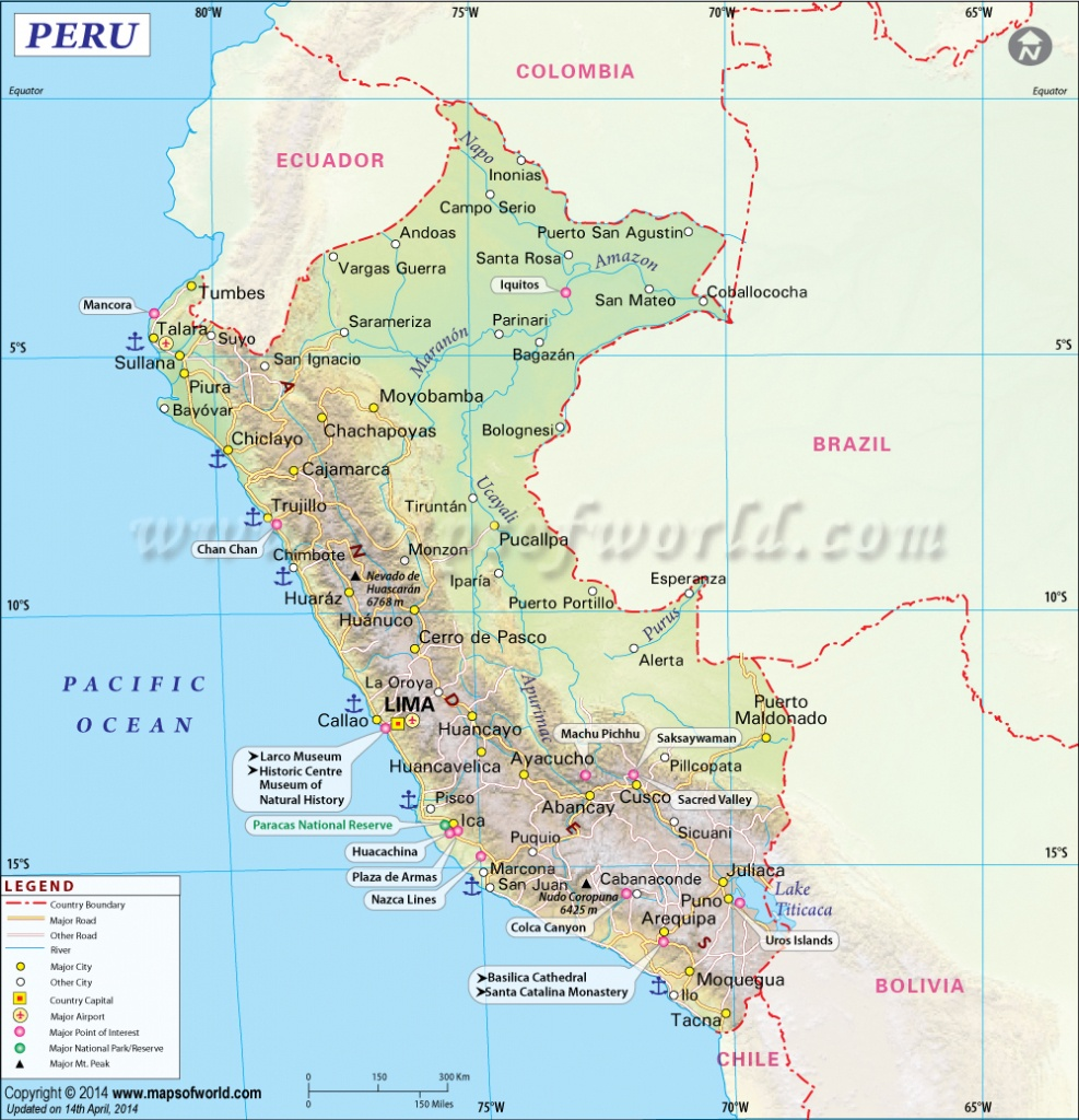 Peru Map, Map Of Peru - Printable Map Of Peru