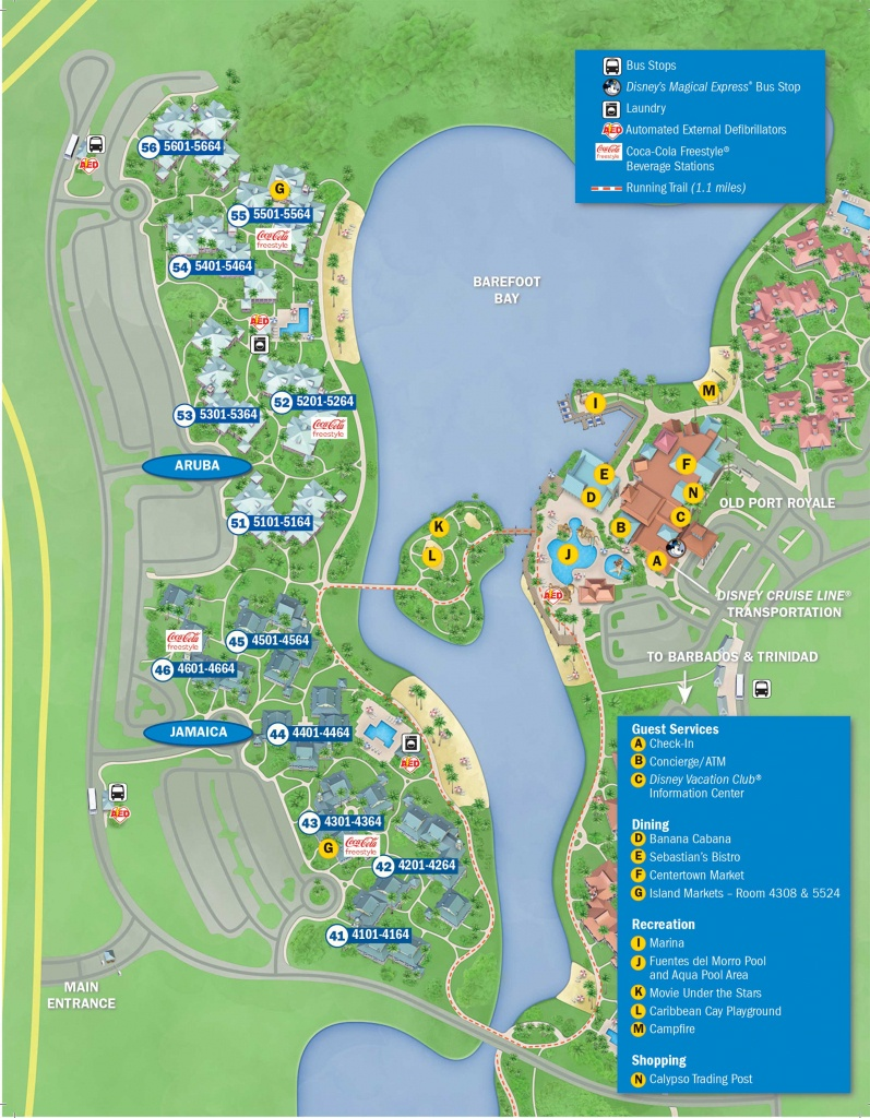 Photos - New Guide Map For Disney's Caribbean Beach Resort - Florida Resorts Map