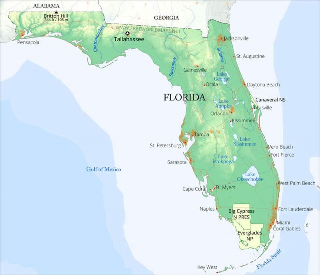 Physical Map Of Florida - Gulf Of Mexico Map Florida