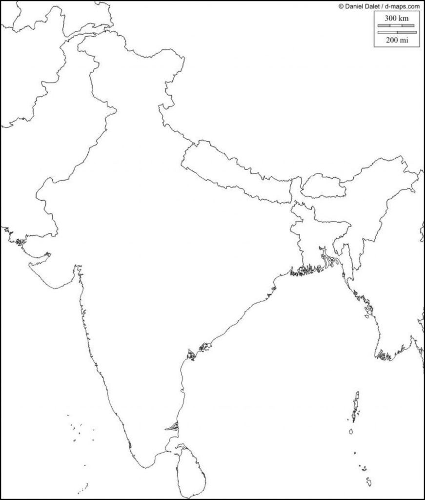 Physical Map Of India Blank Southern Within South Asia 871×1024 4 - Physical Map Of India Outline Printable