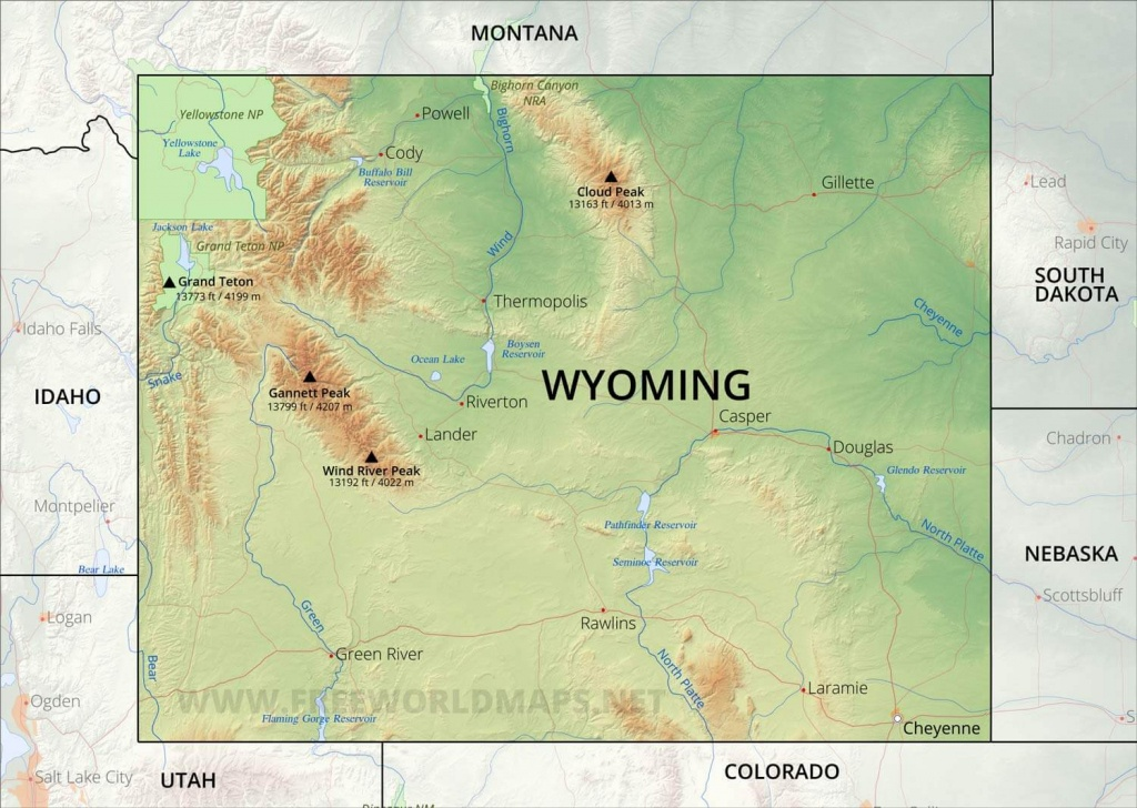 Physical Map Of Wyoming - Printable Map Of Wyoming