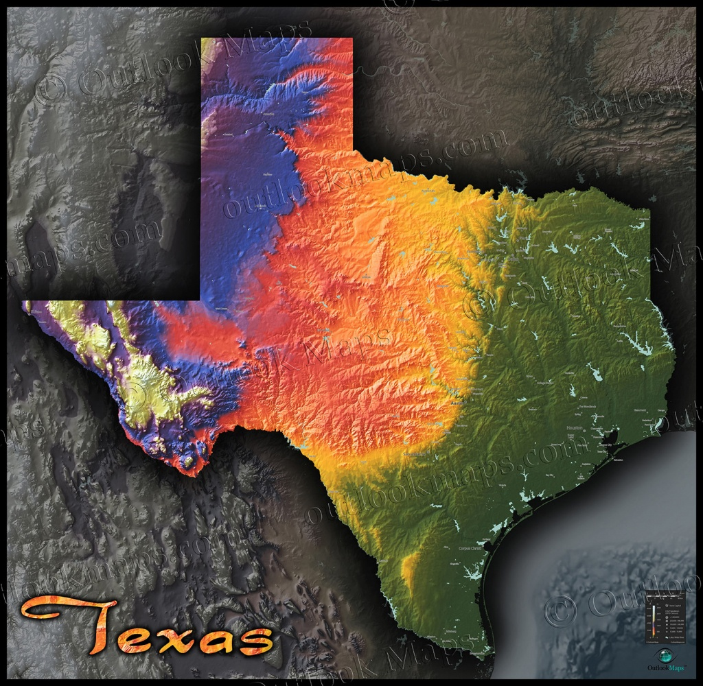 Physical Texas Map | State Topography In Colorful 3D Style - Austin Texas Elevation Map