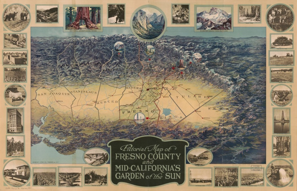 Pictorial Map Of Fresno County And Mid-California's Garden Of The - Map Of Mid California