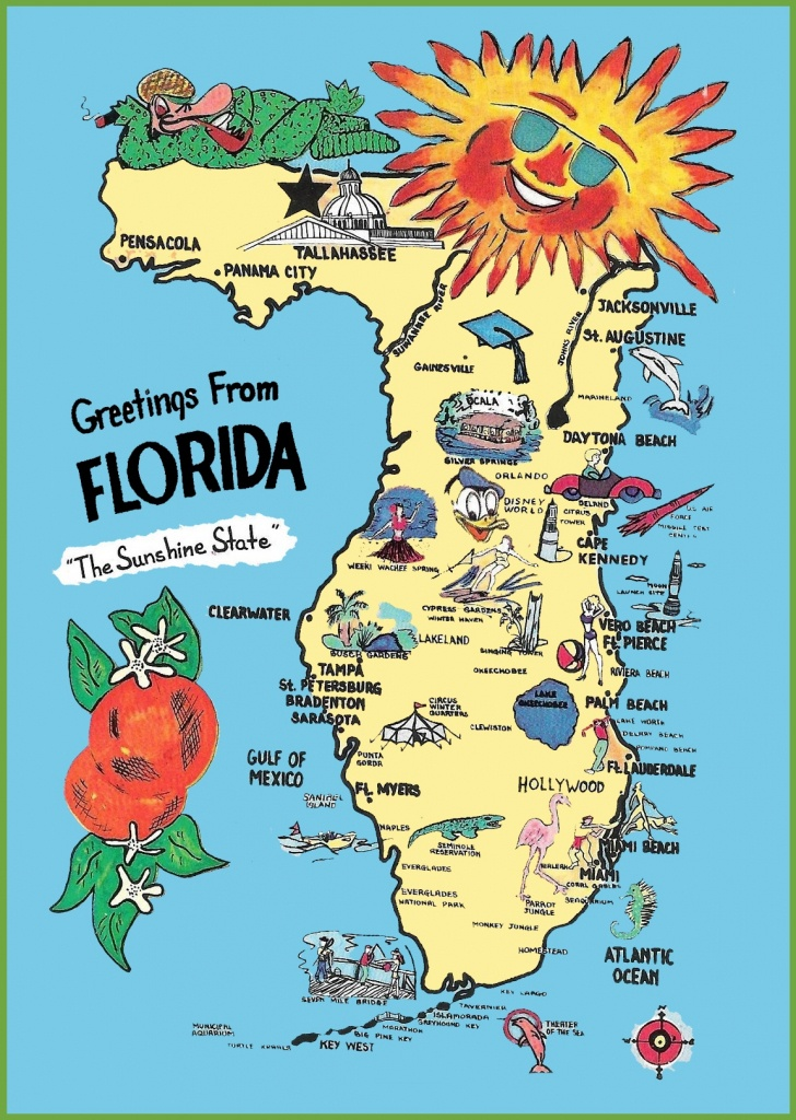 Pictorial Travel Map Of Florida - Florida Tourist Map