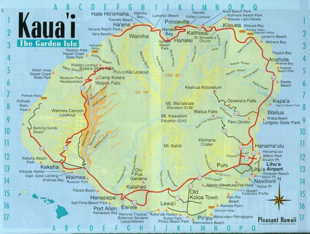Pinalan Hill On Travel In 2019   Kauai Map, Kauai Hawaii, Kauai - Printable Road Map Of Kauai