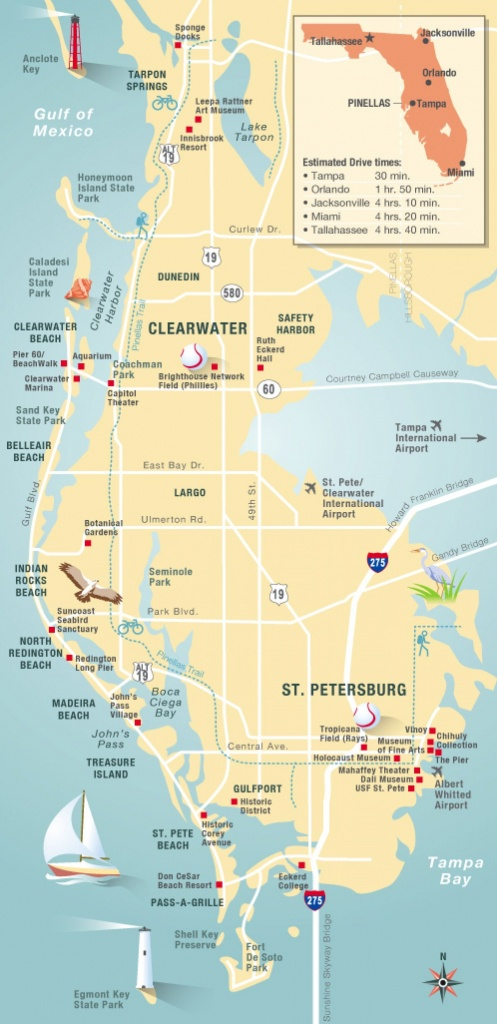 Pinellas County Map Clearwater, St Petersburg, Fl | Florida - Map Of Florida Beaches Near Orlando