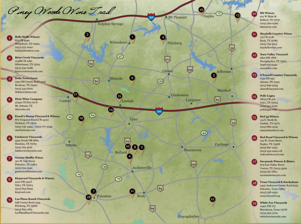 Piney Woods Wine Trail   Texas Uncorked - Fredericksburg Texas Winery Map