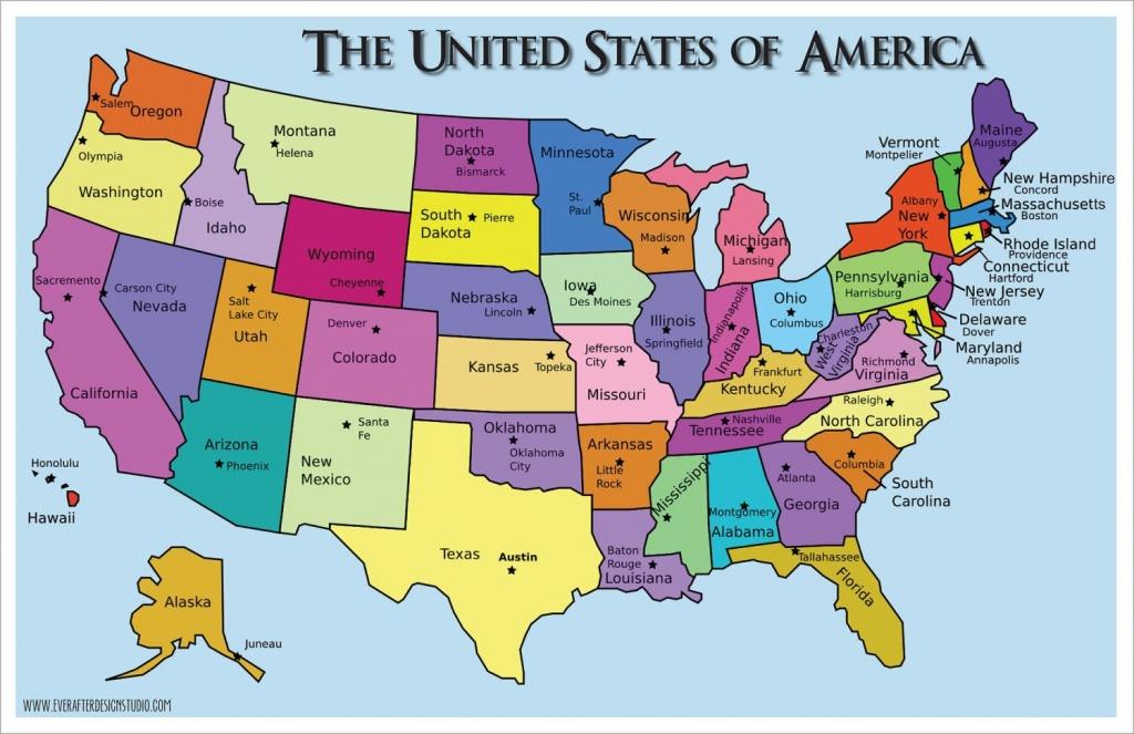 Pinlydia Pinterest1 On Maps | States, Capitals, United States - United States Map With State Names And Capitals Printable