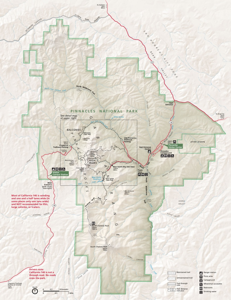 Pinnacles Maps   Npmaps - Just Free Maps, Period. - Map Of California National Parks And Monuments