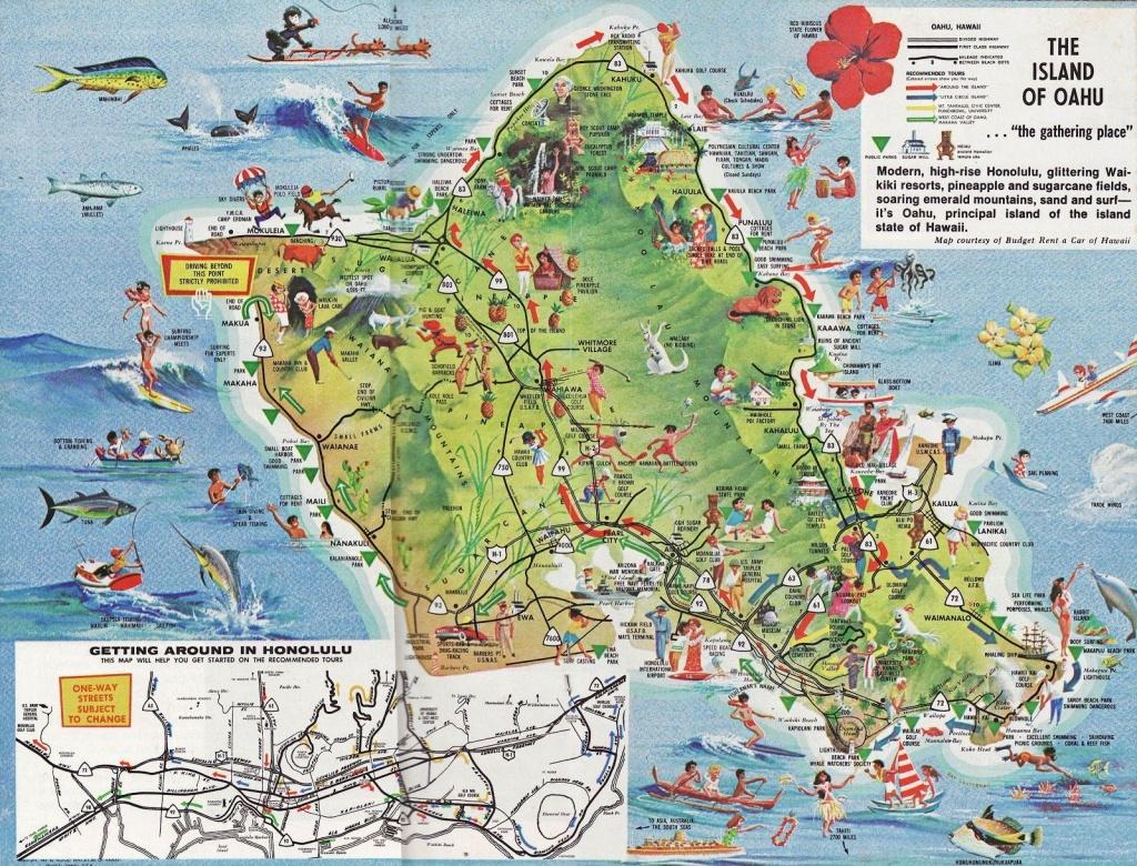 Pinwr B On Hawaii | Oahu Map, Tourist Map, Oahu Hawaii - Printable Map Of Oahu Attractions
