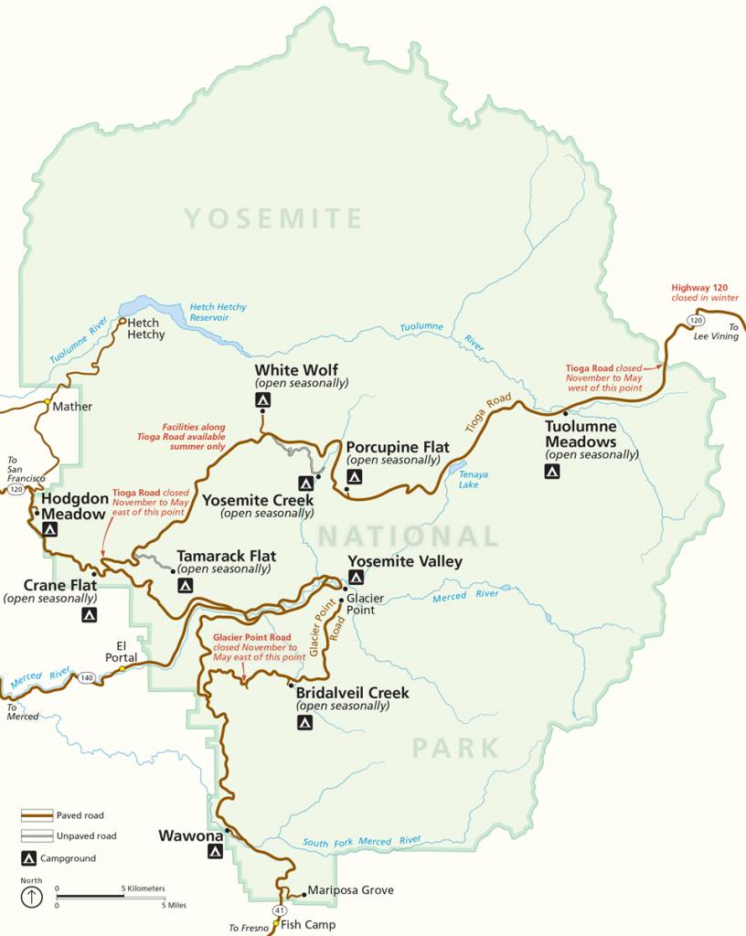 Places To Go - Yosemite National Park (U.s. National Park Service) - Yosemite California Map