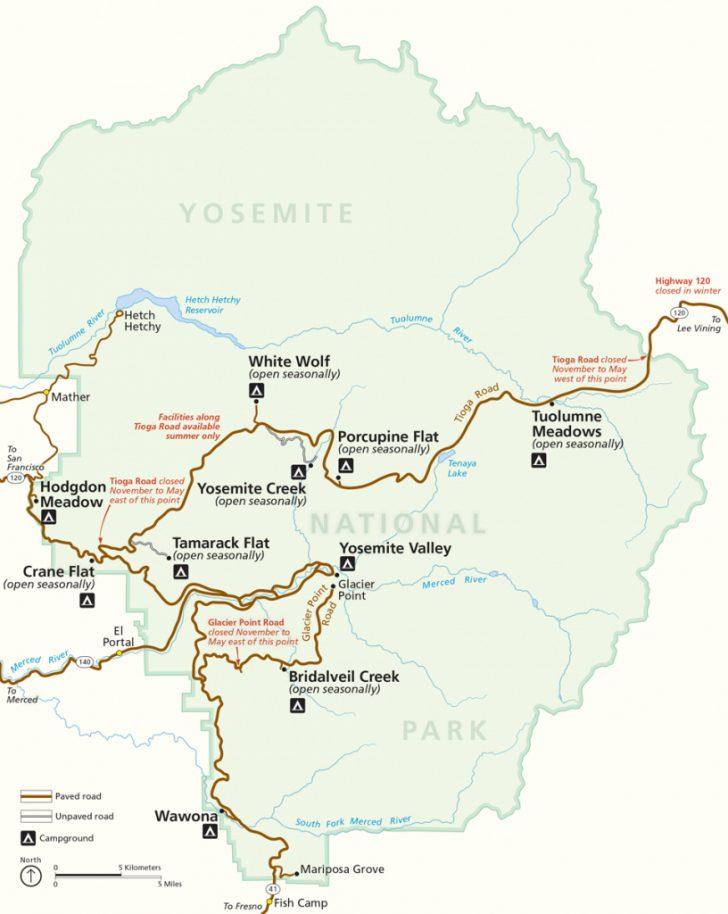 Yosemite National Park California Map