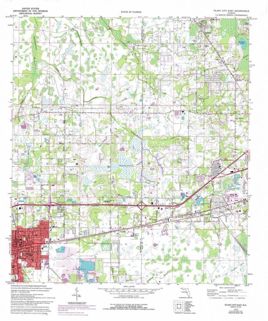 Plant City East Topographic Map, Fl - Usgs Topo Quad 28082A1 - Plant City Florida Map
