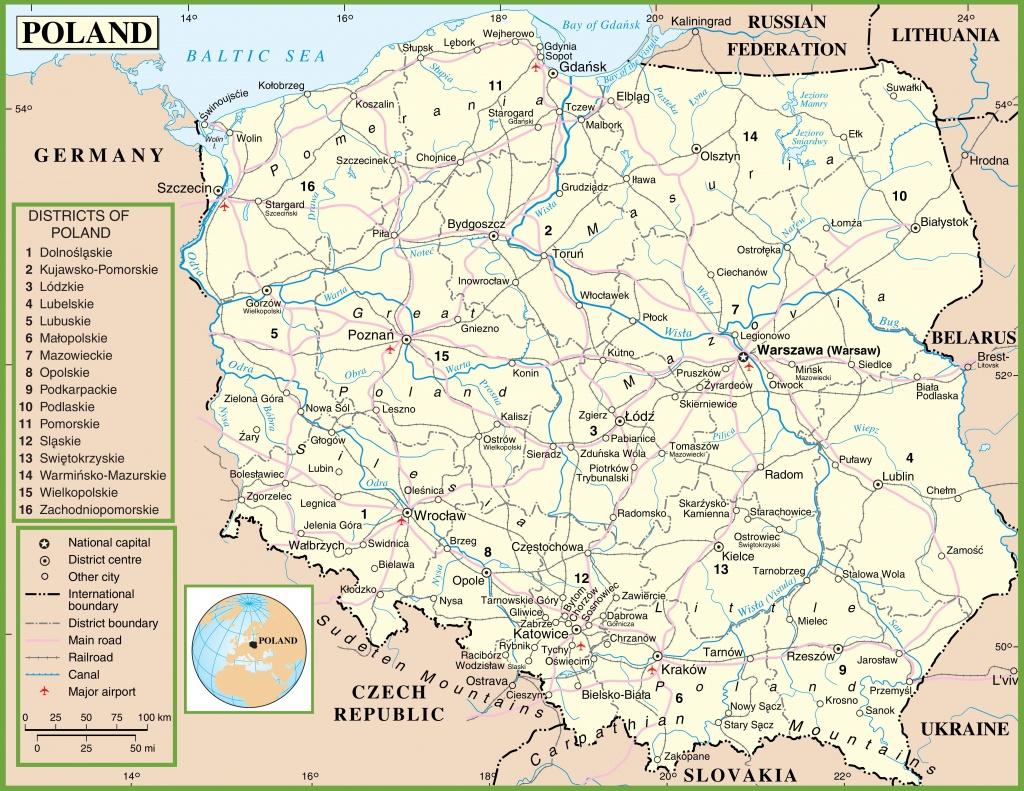 Poland Political Map - Printable Map Of Poland