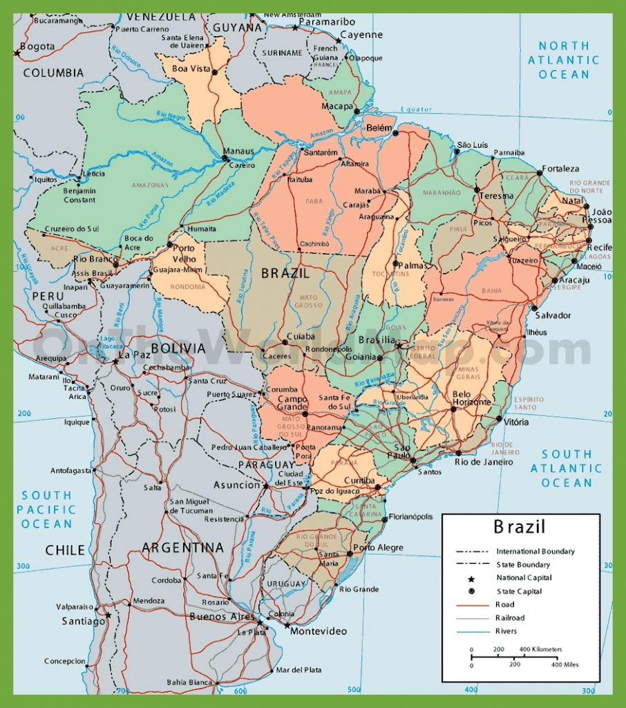 Political Map Of Brazil With Cities - Printable Map Of Brazil