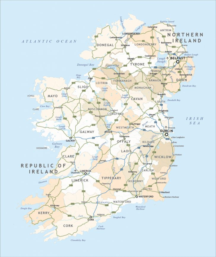 Free Printable Map Of Ireland