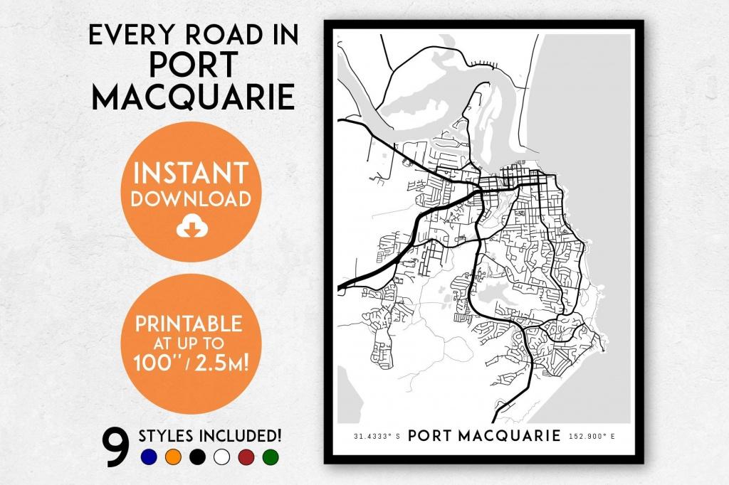 Port Macquarie Map Print Printable Port Macquarie Map Art | Etsy - Printable Street Map Of Port Macquarie